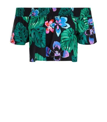 Petite Black Tropical Print Bardot Neck Crop Top New Look