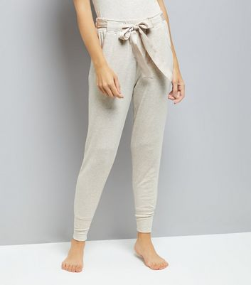 Tall Cream Satin Belt Brushed Jersey Pyjama Joggers New Look