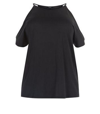 Curves Black Cold Shoulder T-Shirt New Look