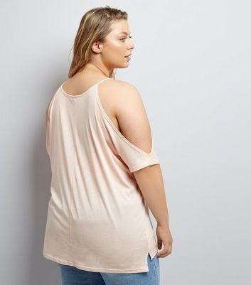 Curves Shell Pink Cold Shoulder T-Shirt New Look