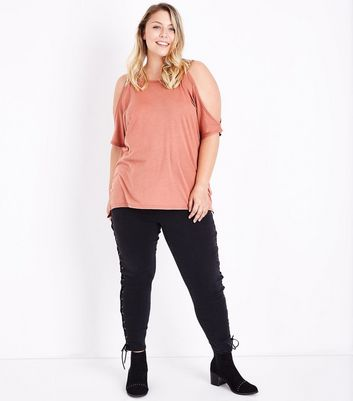 Curves Mustard Cold Shoulder T-Shirt New Look