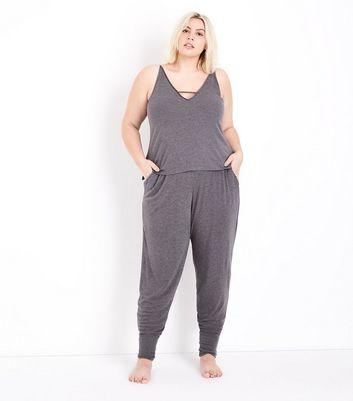 Curves Dark Grey Brushed Jersey Pyjama Cami New Look