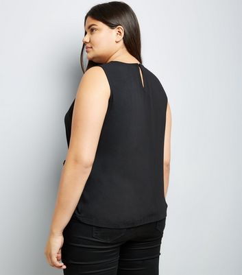 Curves Black Wrap Front Sleeveless Top New Look