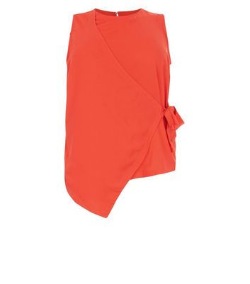 Curves Red Wrap Tie Side Top New Look