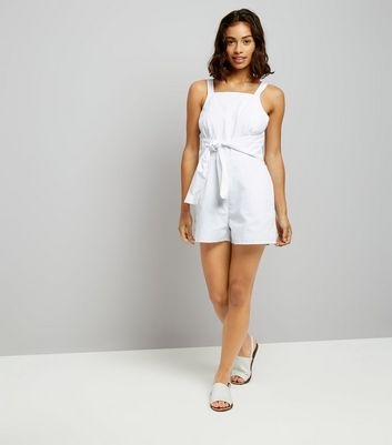 Petite White Tie Front Playsuit New Look