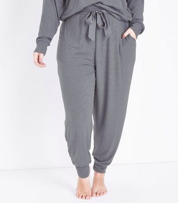 Curves Dark Grey Satin Belt Pyjama Joggers New Look