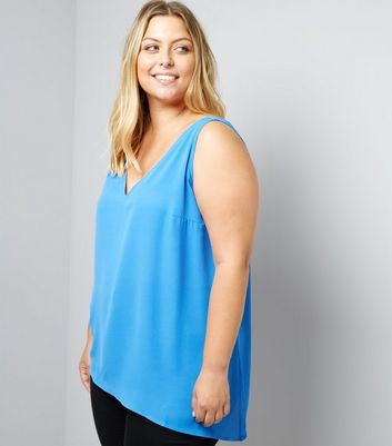 Curves Blue Asymmetric Cami Top New Look