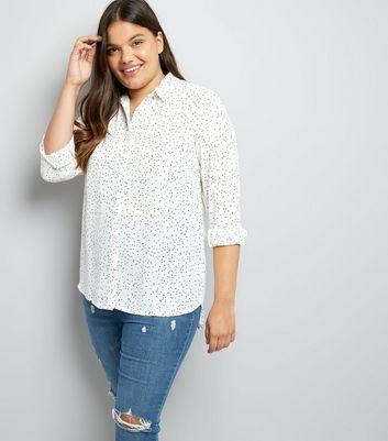 Curves White Polka Dot Print Shirt New Look