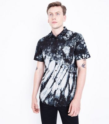 Black Tie Dye Short Sleeve Shirt New Look