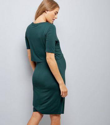 Maternity Dark Green Layered Nursing Dress New Look
