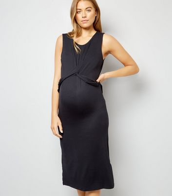 Maternity Black Twist Front Midi Dress New Look