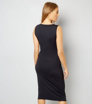 maternity-black-twist-front-midi-dress