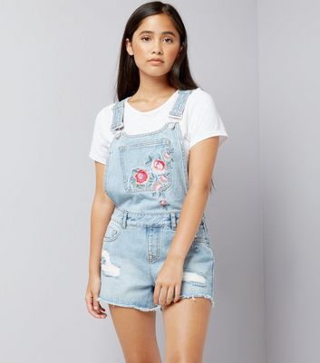 Teens Pale Blue Floral Embroidered Short Dungarees New Look