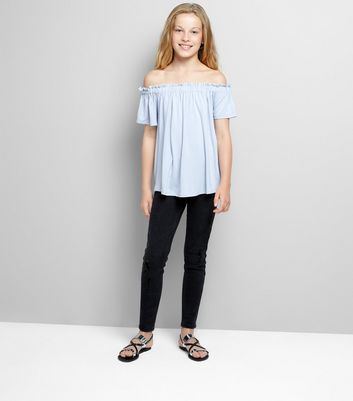 Teens Pale Blue Bardot Neck Top New Look