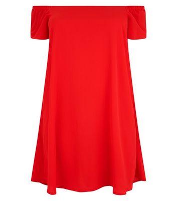 Curves Red Bardot Dress New Look