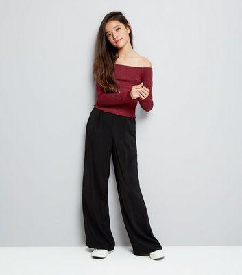 Teens Burgundy Shirred Long Sleeve Bardot Neck Top New Look