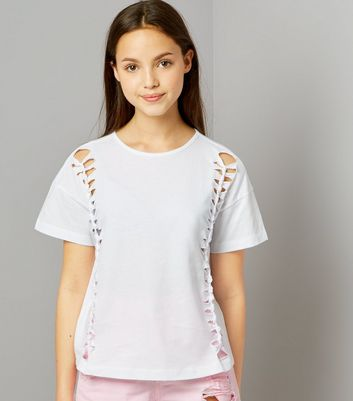 Teens White Knot Side Cut Out T-Shirt New Look