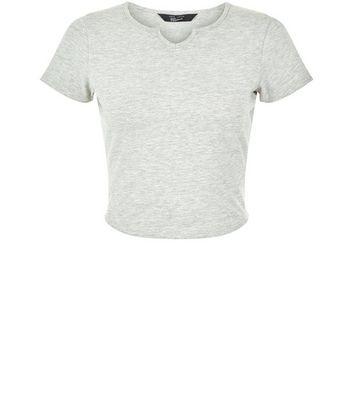 Teens Grey Notch Neck T-Shirt New Look