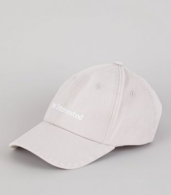 Grey Not Interested Embroidered Cap New Look