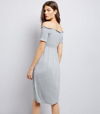 Tall Grey Shirred Bardot Neck Midi Dress New Look