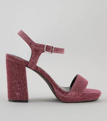 Wide Fit Rose Gold Glitter Heeled Sandals New Look