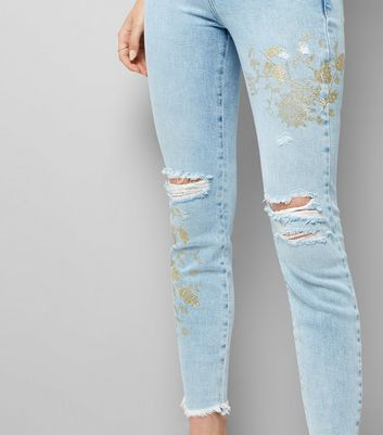 Blue Glitter Floral Print Ripped Skinny Jeans New Look