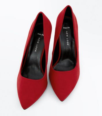 Wide Fit Red Suedette Pointed Court Shoes New Look