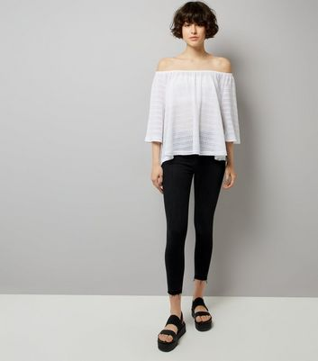 White Crochet Bardot Neck Top New Look