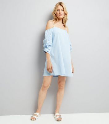 Blue Ruched Sleeve Bardot Neck Dress New Look