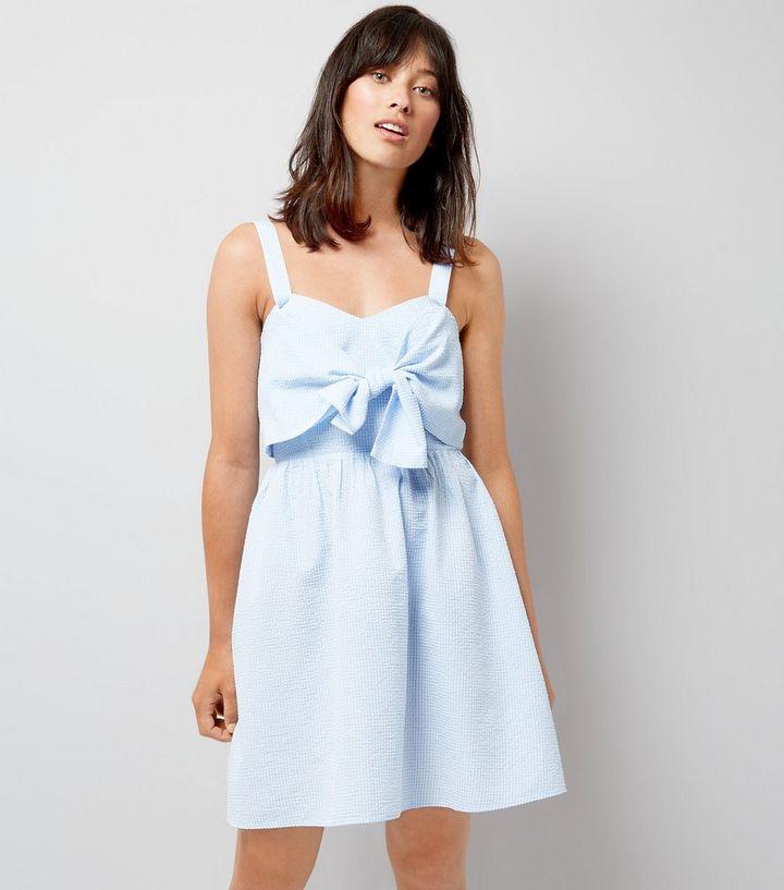 acd0145df8 Blue Gingham Seersucker Twist Front Dress