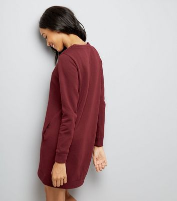 Burgundy Sweatshirt Dress New Look