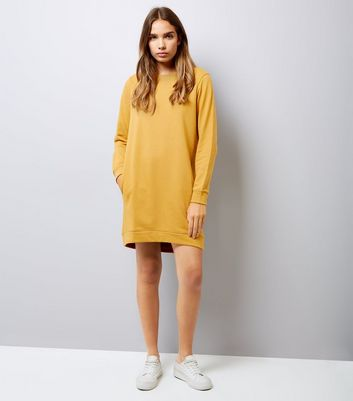 Yellow Sweatshirt Dress New Look