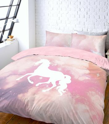 Pink Unicorn Galaxy Tie Dye Print Double Duvet Set New Look