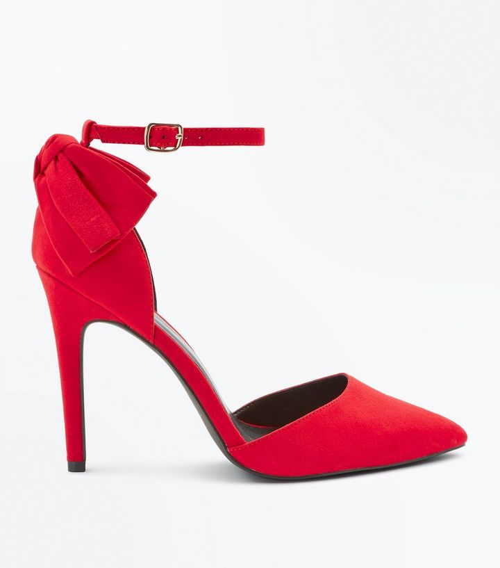 31645268ea8 Wide Fit Red Suedette Bow Back Pointed Heels Add to Saved Items Remove from  Saved Items