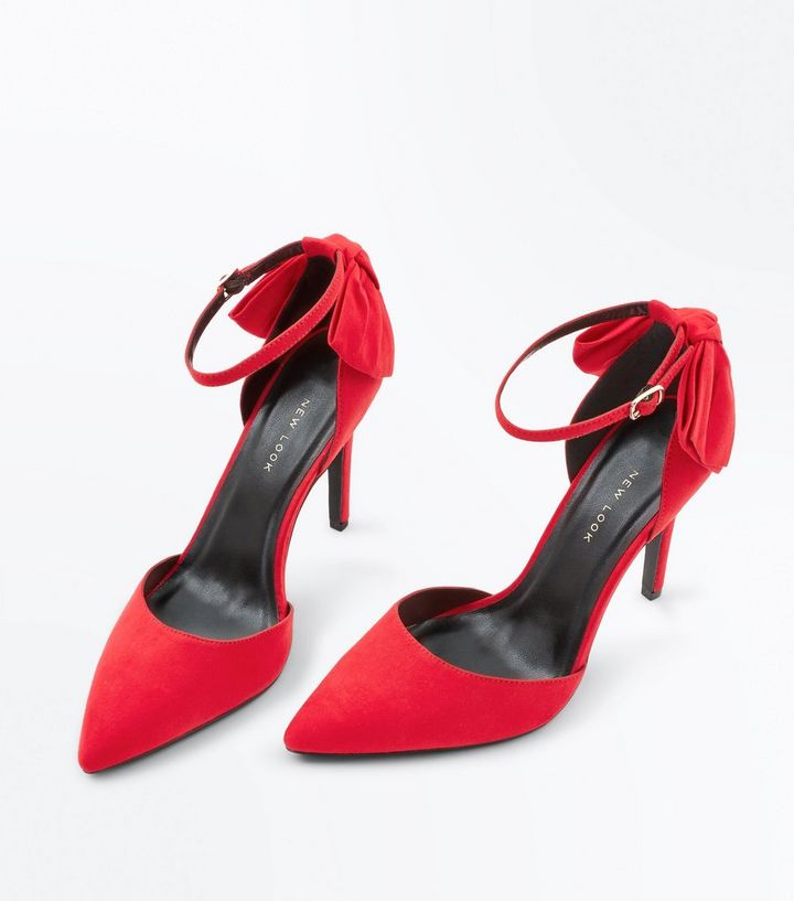 0407ac2c1b58 ... Red Suedette Bow Back Pointed Heels. ×. ×. ×. Shop the look