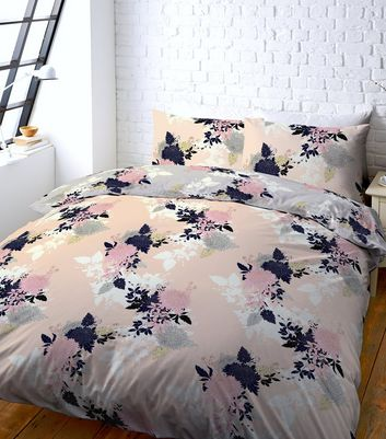 Pink Floral Print Double Duvet Set New Look