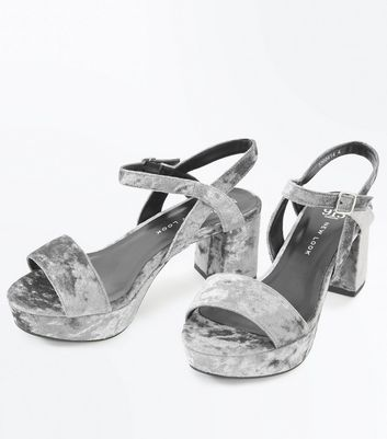 Teens Grey Velvet Platform Sandals New Look