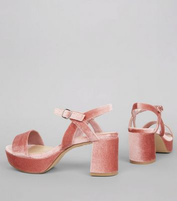 Teens Pink Velvet Platform Sandals New Look