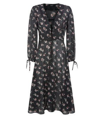 Petite Black Polka Dot Floral Print Longline Kimono New Look