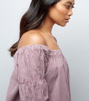 Petite Red Gingham Elasticated Bardot Neck Top New Look