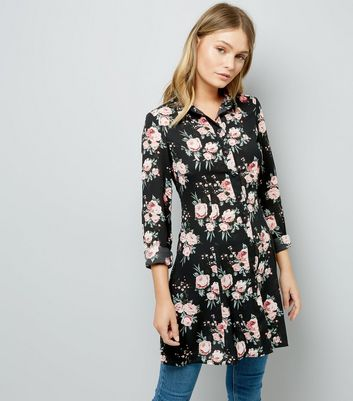 Blue Vanilla Floral Print Longline Shirt New Look