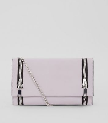 Lilac Double Zip Foldover Clutch New Look