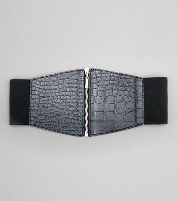 Black Croc Zip Up Waist Belt New Look