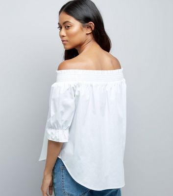 Petite White Shirred Bardot Neck Top New Look