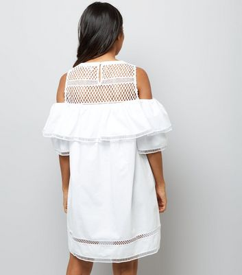 Petite White Mesh Yoke Frill Trim Cold Shoulder Dress New Look