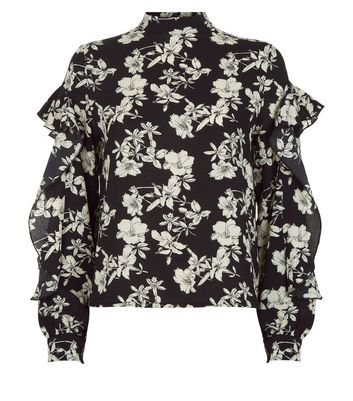 Blue Vanilla Black Floral Print Frill Sleeve Blouse New Look