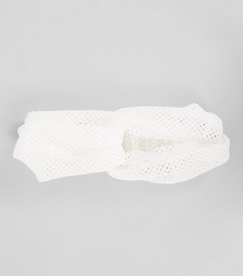 White Mesh Twist Front Headband New Look