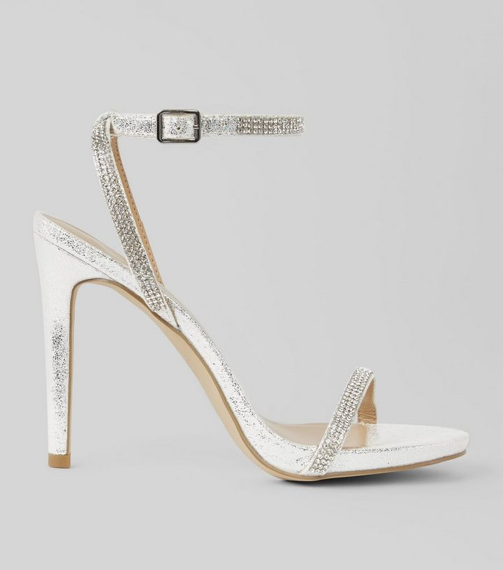 0a93864daa36 Silver Diamante Embellished Heeled Sandals