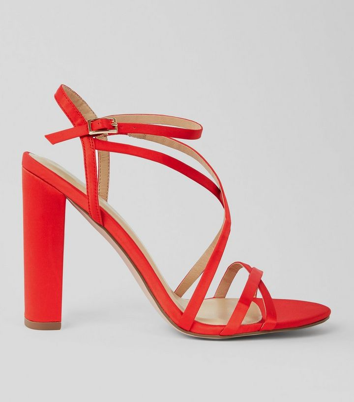 a83ef1d443b Red Satin Strappy Block Heel Sandals
