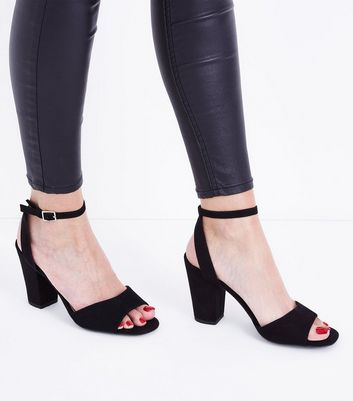 Black Suedette Cut Out Back Block Heel Sandals New Look
